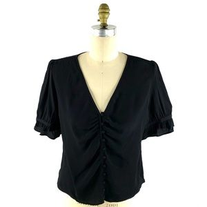 Madewell Black Daylight Top Shirred Button Front